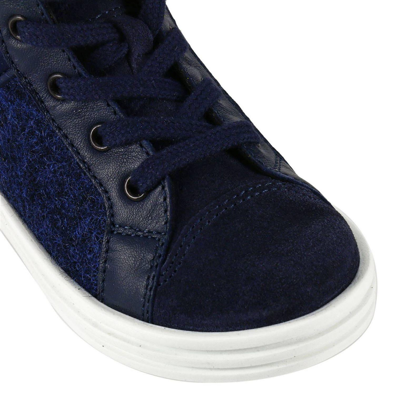 Sneaker Rebel Junior in camoscio bicolor feltro e pelle con H flock blue 3