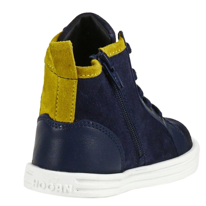 Sneaker Rebel Junior in camoscio bicolor feltro e pelle con H flock blue 4