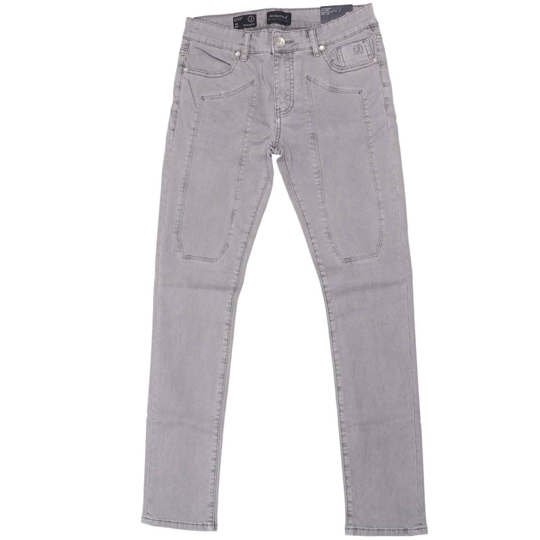 Jeans JA75 in cotone stretch con maxi toppe tono su tono grigio 1
