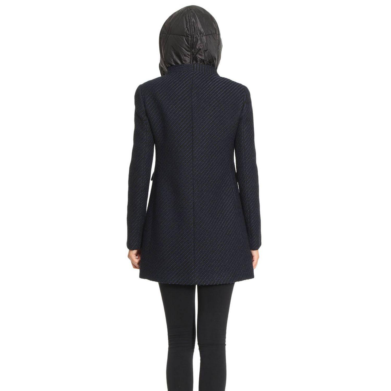 Cappotto New Romantic in lana chevron con piumino interno e cappuccio