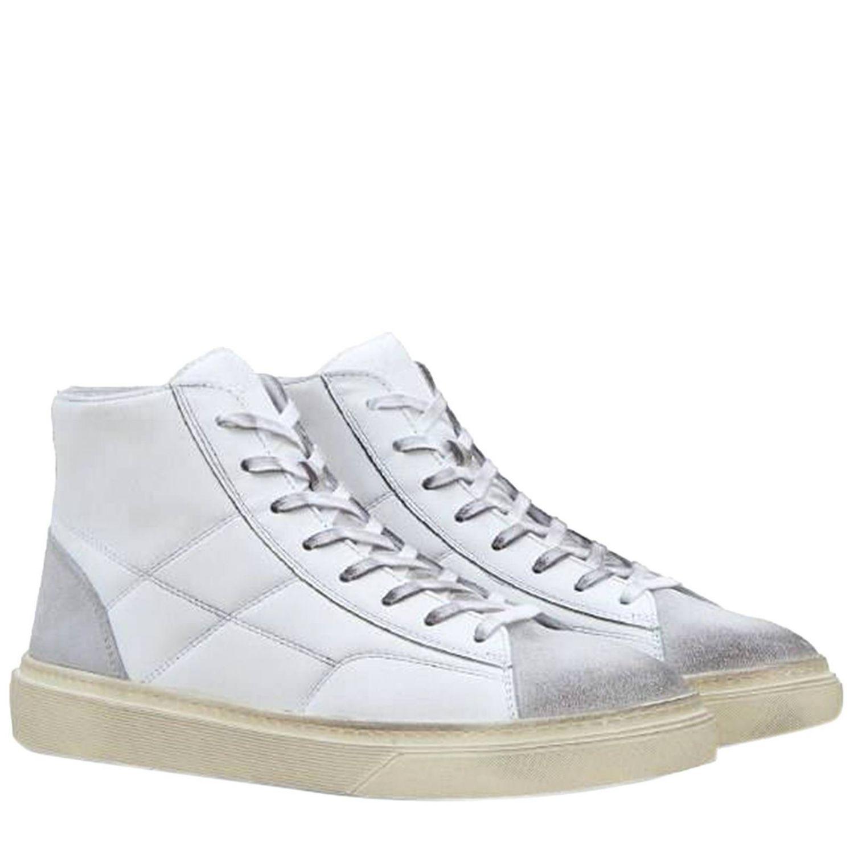 Sneaker Rebel alte in pelle e camoscio con H cuciture