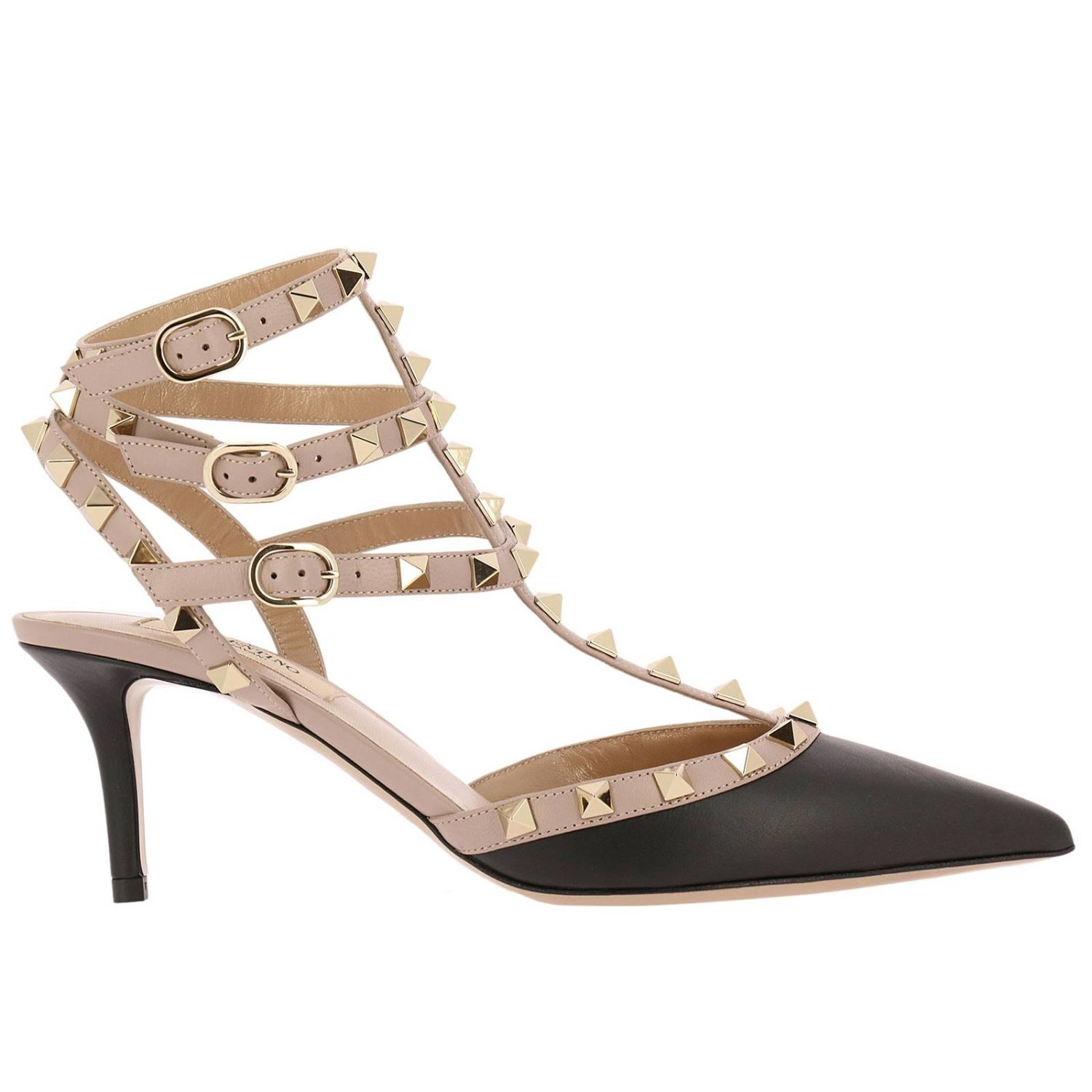 Pumps Valentino Rockstud Ankle Strap In Real Bicolor Smooth Leather With Micro Metal Studs 8331589