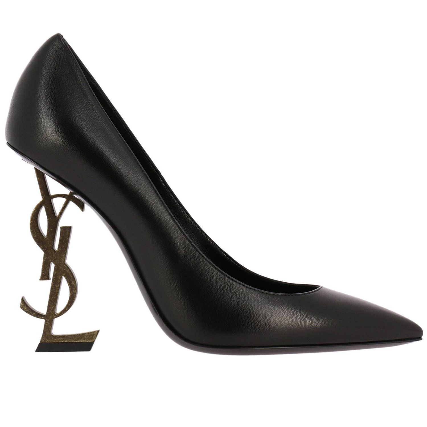 Pumps Ysl Opyum Shoes Pumps In Brushed Leather With Textured Ysl Metal Heel 8341701
