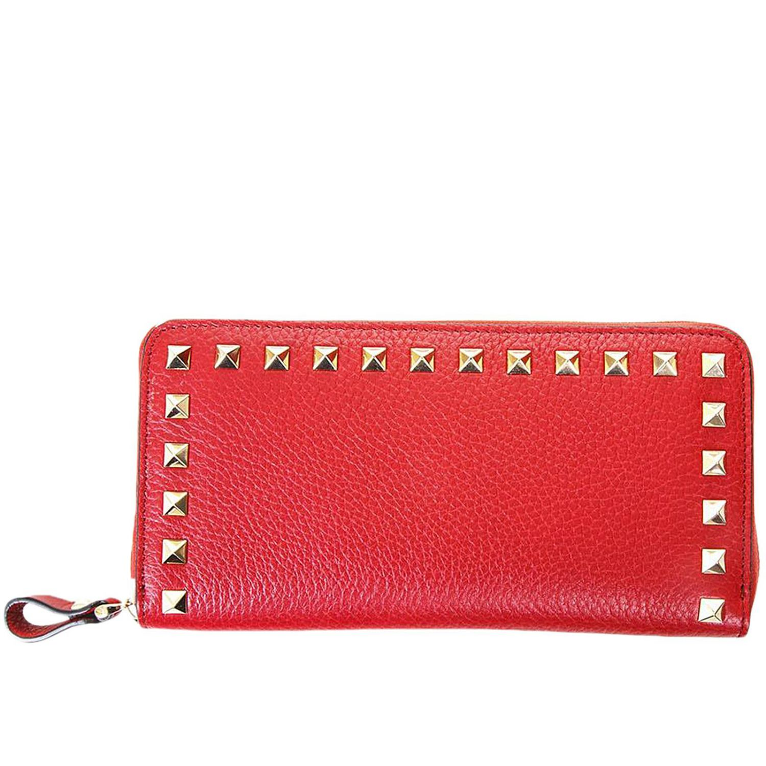 Wallet Valentino Rockstud Spikes Wallet With Zip Around In Leather With Metal Studs 8358184