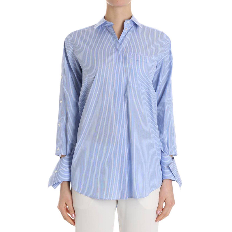 Camicia bacchettata a maniche lunghe con polsi asimmetrici azzurro 1