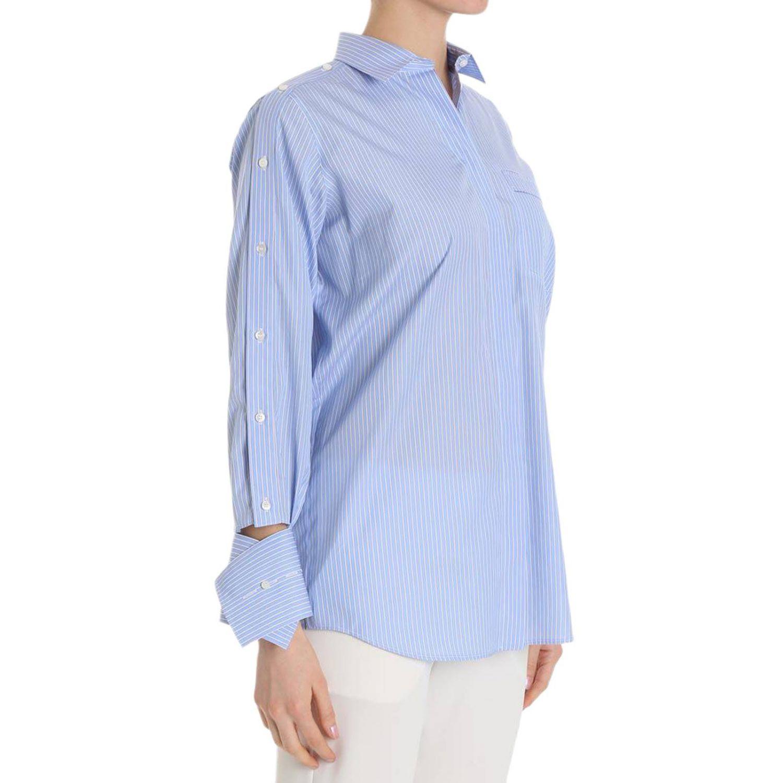 Camicia bacchettata a maniche lunghe con polsi asimmetrici azzurro 2