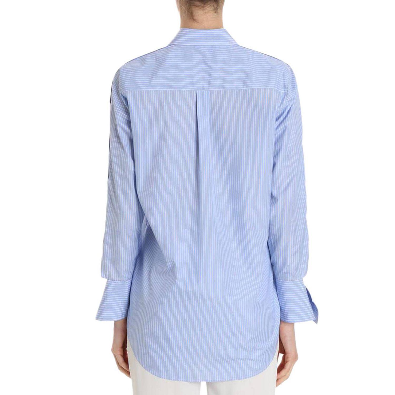 Camicia bacchettata a maniche lunghe con polsi asimmetrici azzurro 3