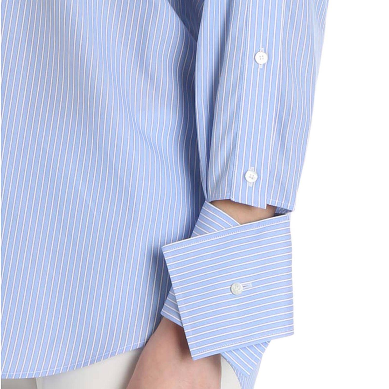 Camicia bacchettata a maniche lunghe con polsi asimmetrici azzurro 4