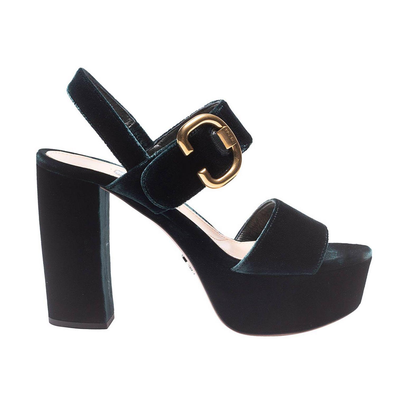 Heeled sandals Prada: Shoes women Prada green 1