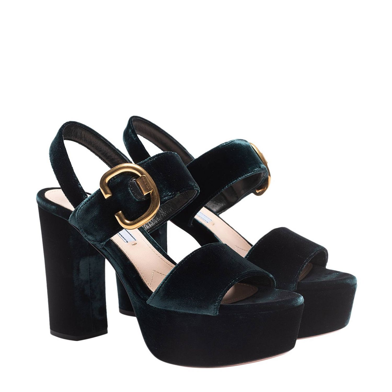 Heeled sandals Prada: Shoes women Prada green 2
