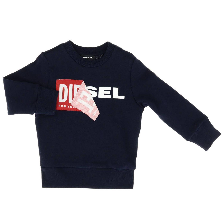 Felpa a girocollo in cotone con logo Diesel blue 1