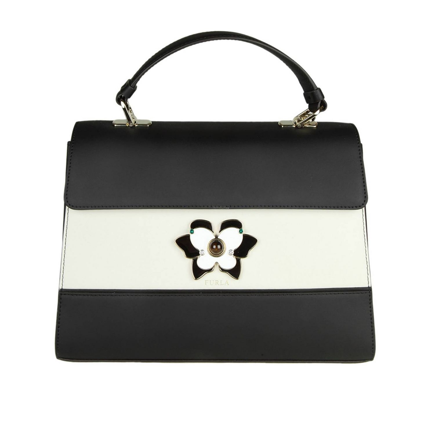 Handbag Altea M Bag In Color Block Smooth Leather With Butterfly Jewel Closure 8459702