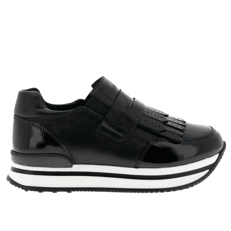 Sneakers 222 slip on in pelle e vernice con traversina e frange