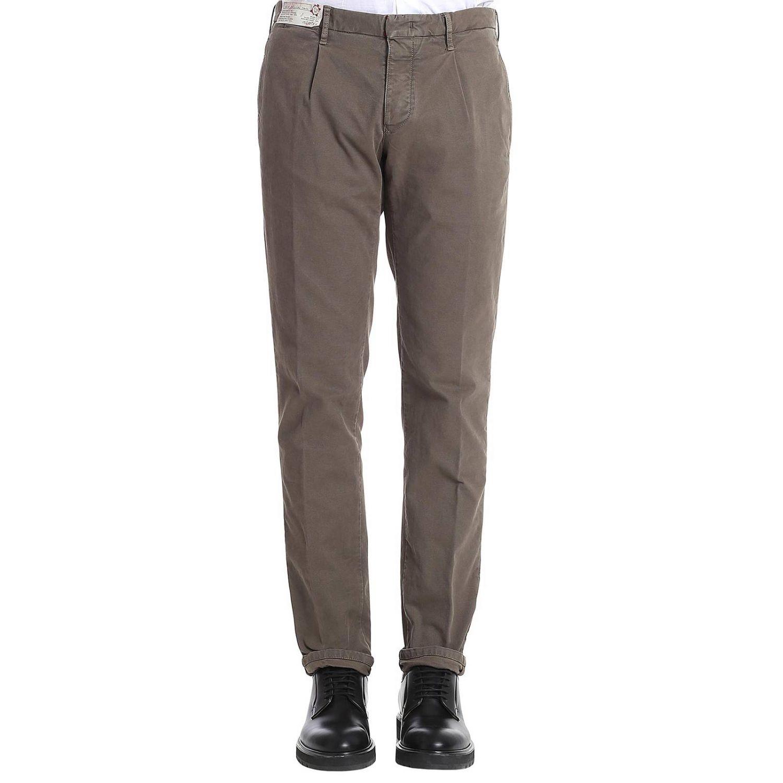 Pantalone classico con tasche america tortora 1