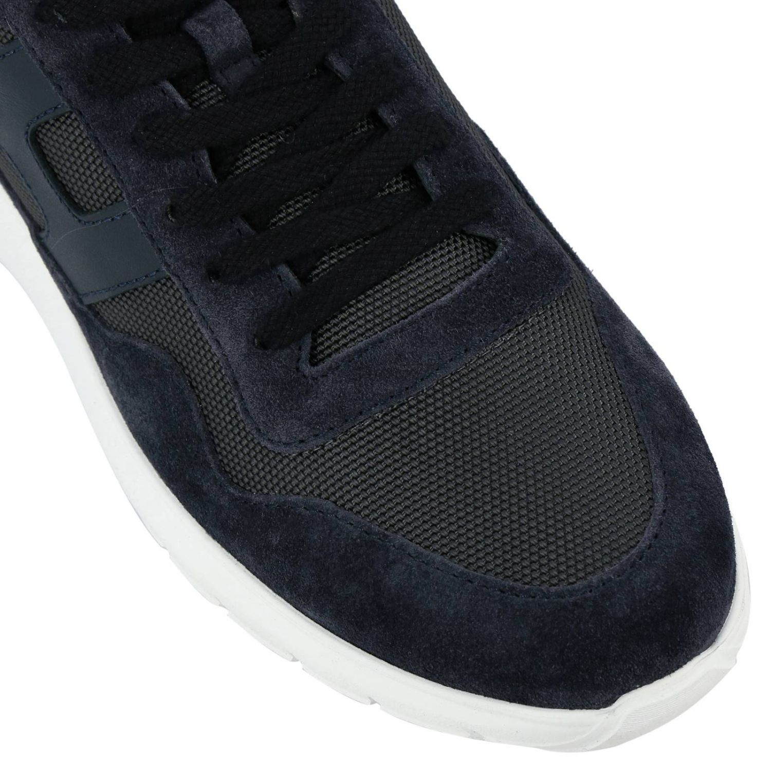 Sneakers Cube 371 in camoscio e micro rete con big H blue 3