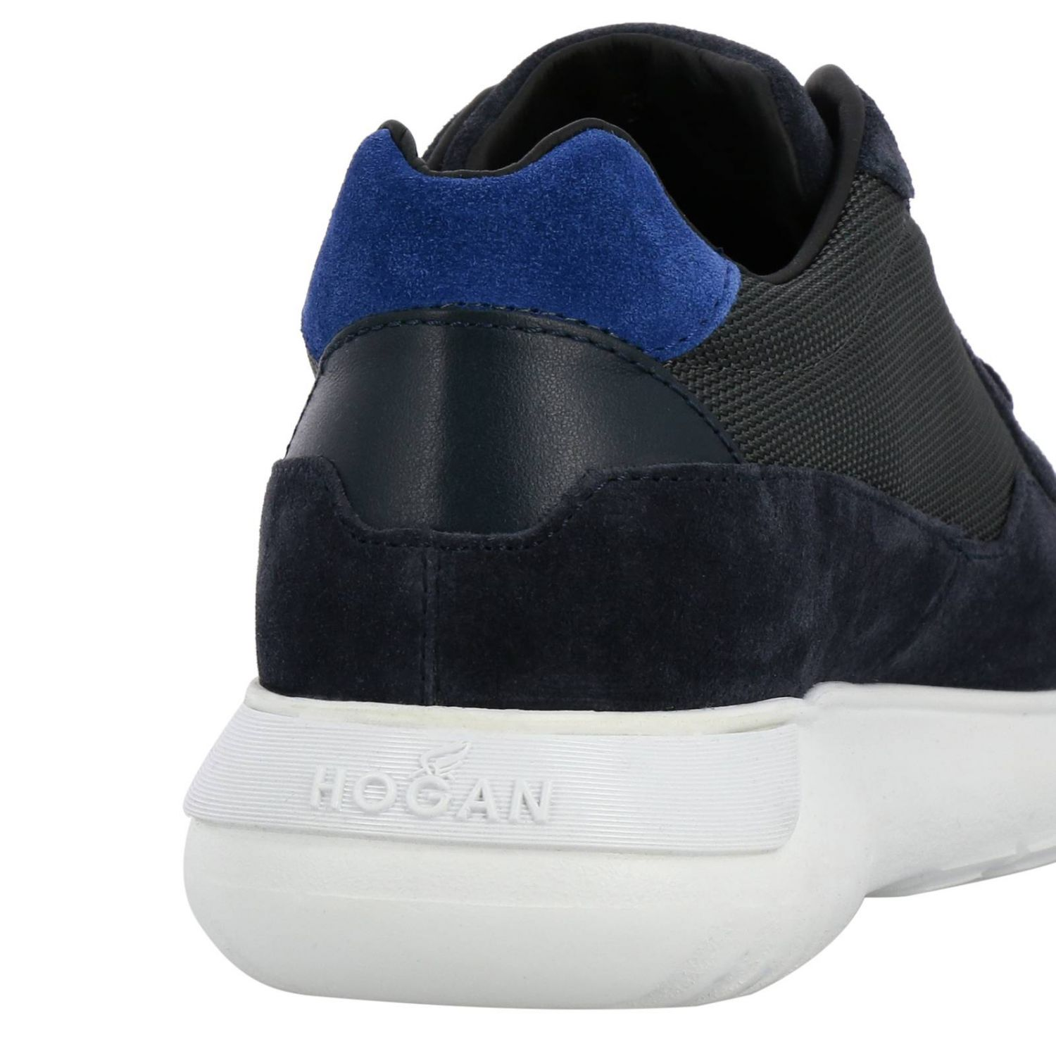 Sneakers Cube 371 in camoscio e micro rete con big H blue 4