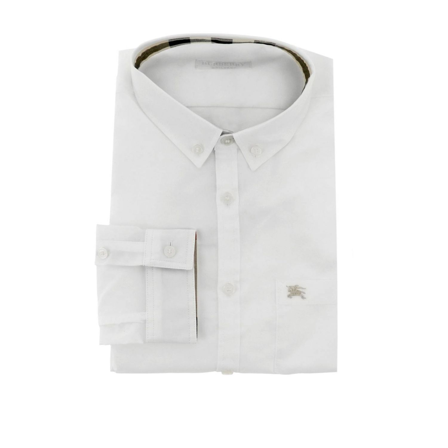 Camicia con collo button down interni check e taschino a toppa Burberry bianco 1
