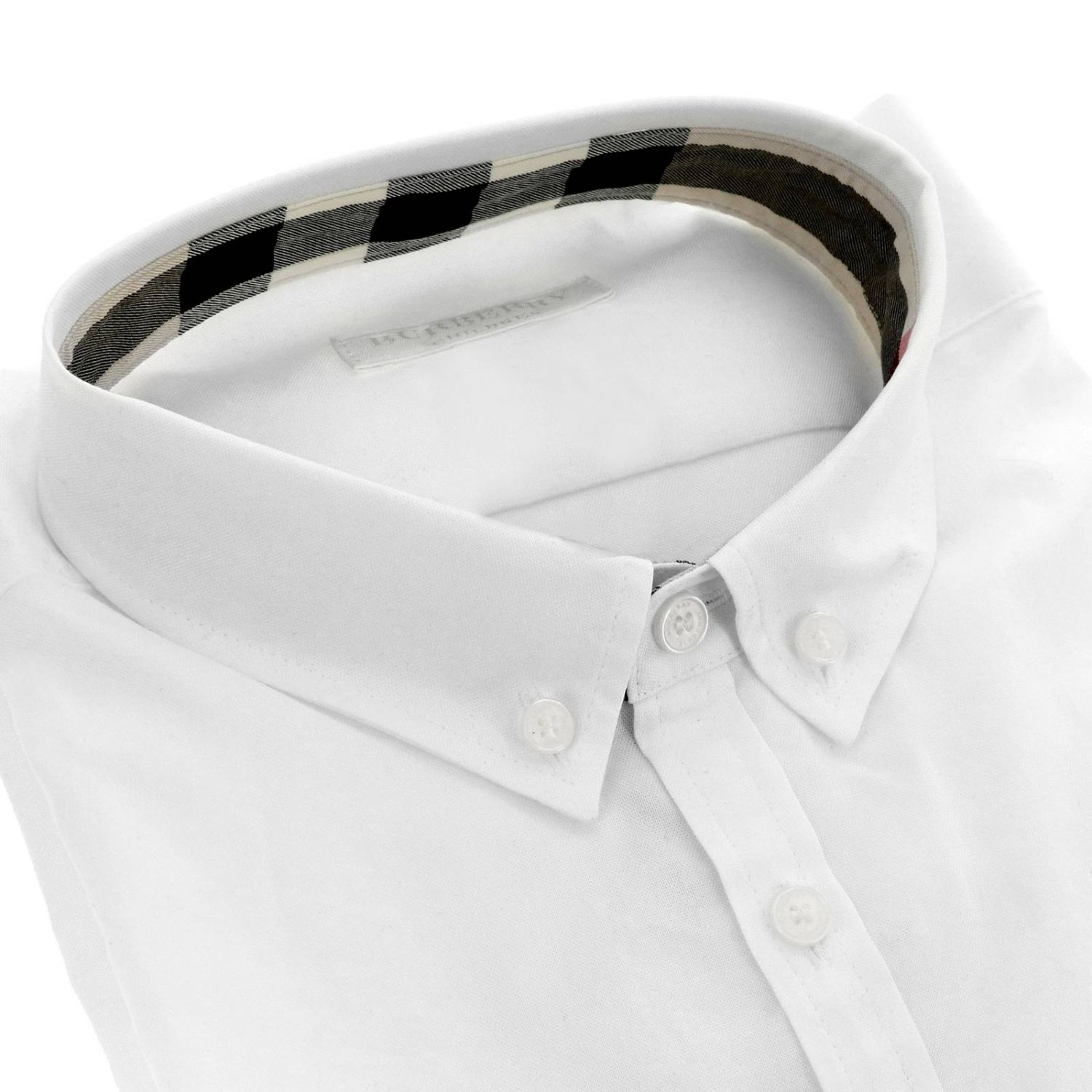 Camicia con collo button down interni check e taschino a toppa Burberry bianco 2