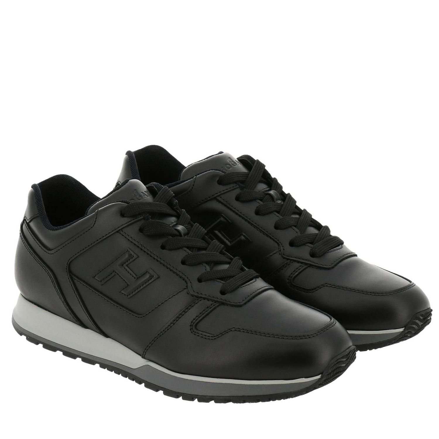Sneakers Rebel 321 in pelle con H in 3D nero 2