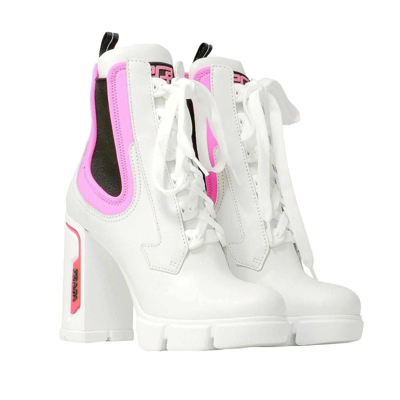 prada boots white and pink