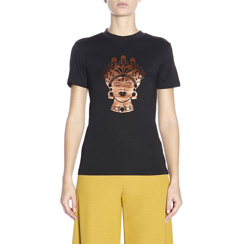 T-shirt Dorotea in puro cotone con maxi stampa bronzata nero 1