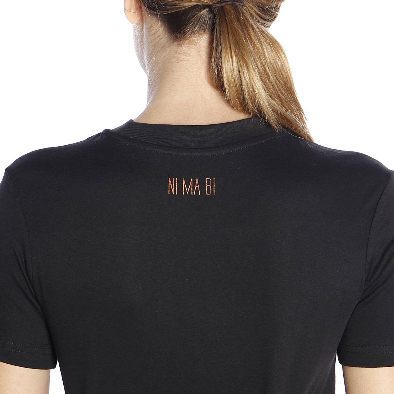 T-shirt Dorotea in puro cotone con maxi stampa bronzata nero 3