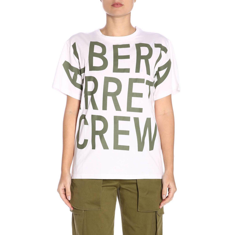 T-shirt a maniche corte con maxi stampa Alberta Ferretti Crew bianco 1