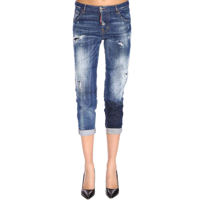 Jeans in misto cotone stretch used con rotture a 5 tasche blue 1
