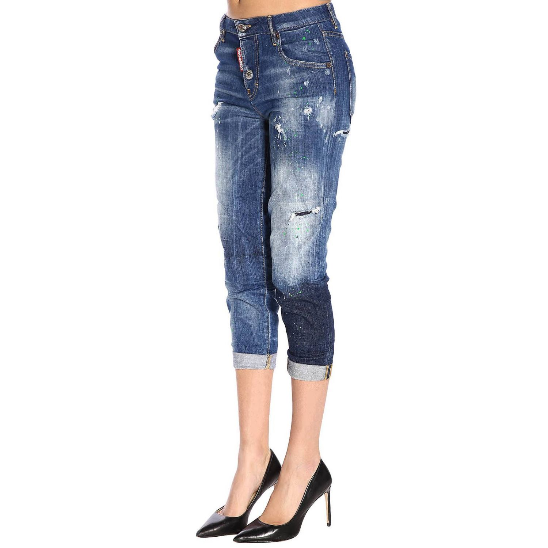 Jeans in misto cotone stretch used con rotture a 5 tasche blue 2