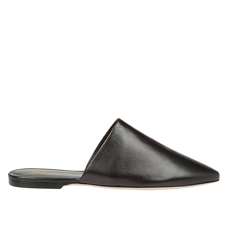 Sandalo classico a punta in vera pelle liscia nero 1
