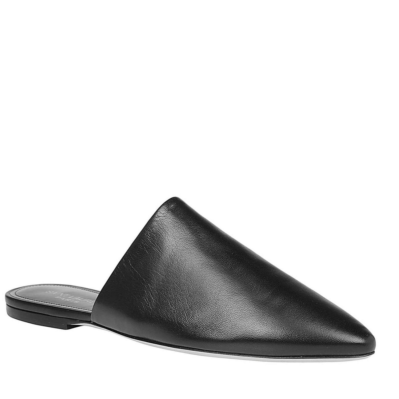 Sandalo classico a punta in vera pelle liscia nero 2
