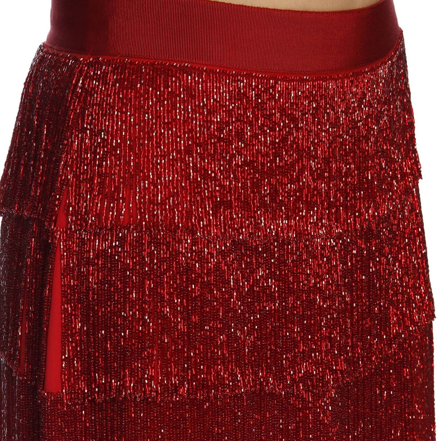 Gonna Alberta Ferretti: Gonna con frange all over Alberta Ferretti rosso 4