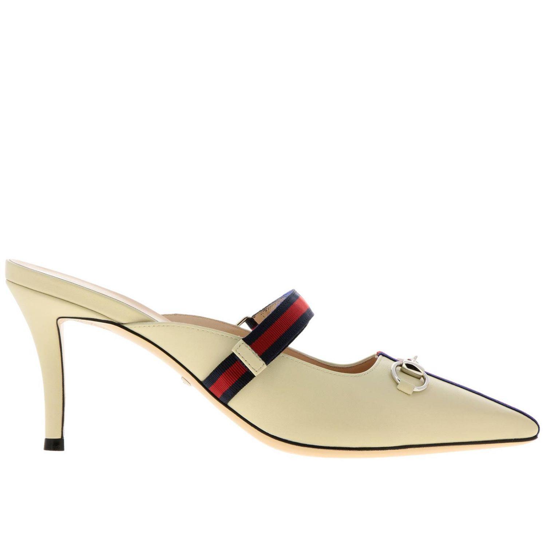 Sandali con tacco Gucci: Sandalo a punta in pelle con gancio metallico e fascia Web Gucci crema 1