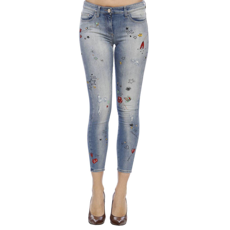Jeans Elisabetta Franchi: Jeans skinny a 5 tasche in denim used con ricami all over denim 1