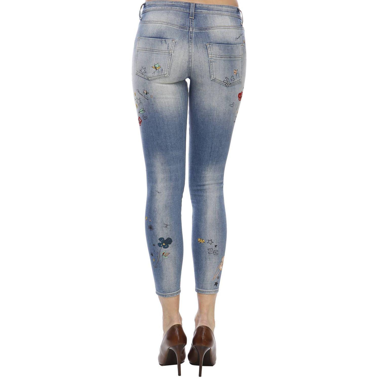 Jeans Elisabetta Franchi: Jeans skinny a 5 tasche in denim used con ricami all over denim 3