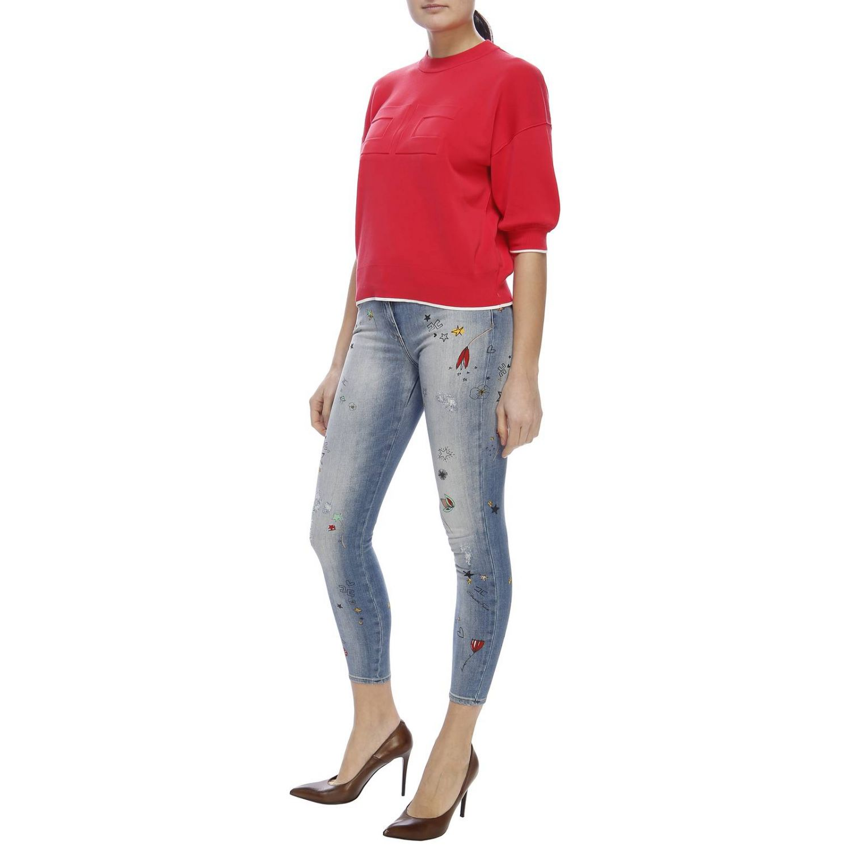 Jeans Elisabetta Franchi: Jeans skinny a 5 tasche in denim used con ricami all over denim 5