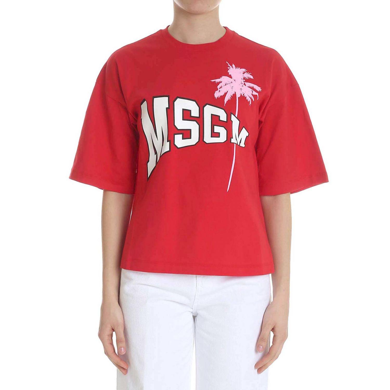 T-shirt a maniche corte con maxi stampa Msgm rosso 1