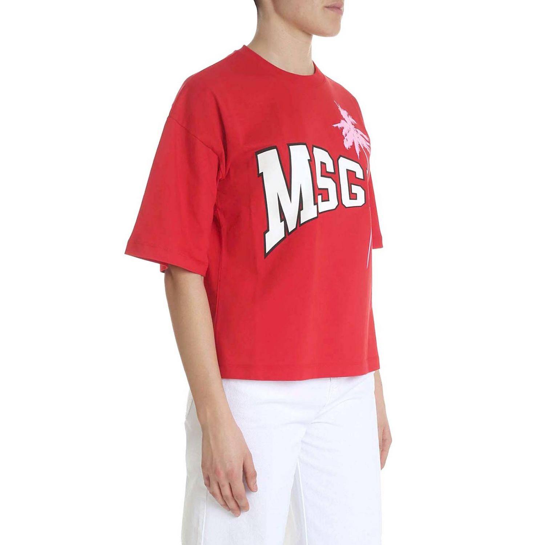 T-shirt a maniche corte con maxi stampa Msgm rosso 2