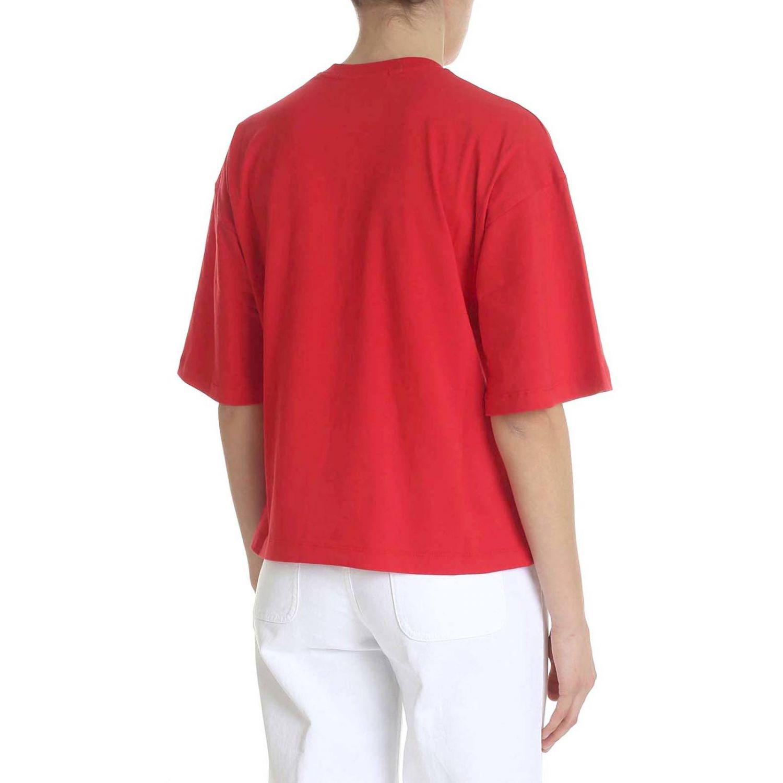 T-shirt a maniche corte con maxi stampa Msgm rosso 3