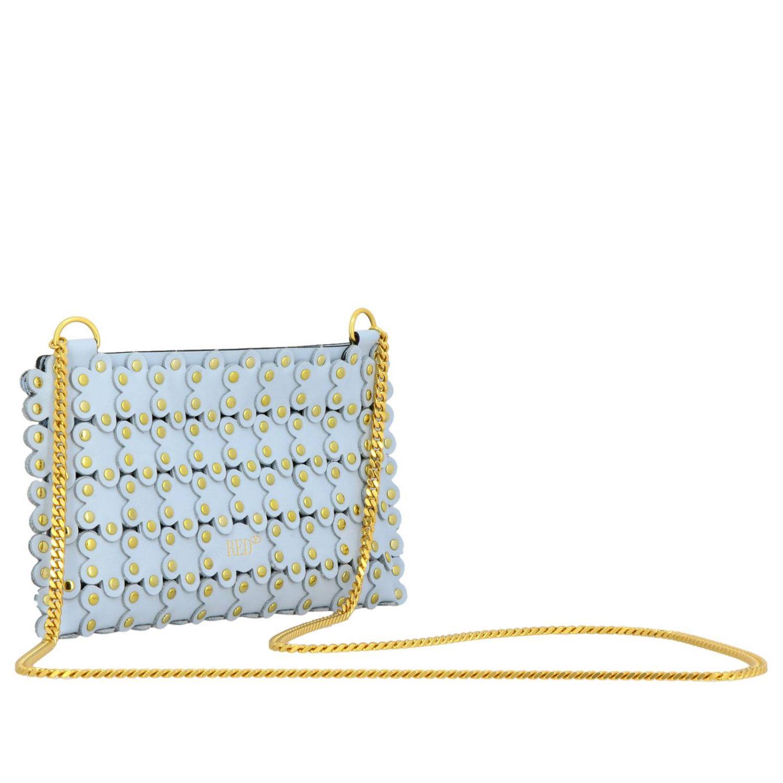 Pochette Flowers puzzle in pelle liscia con micro borchie all over azzurro 3