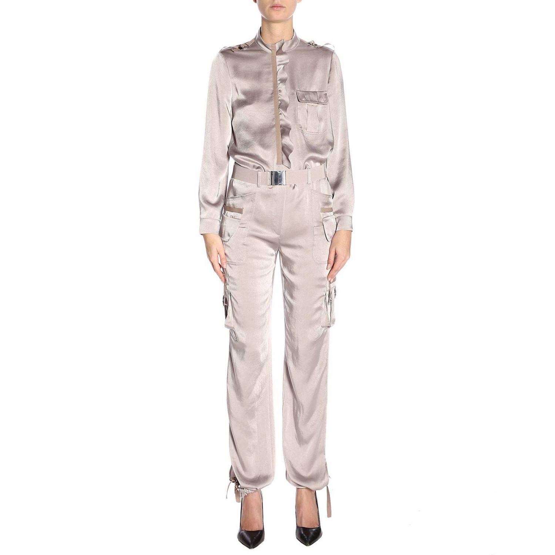 Tuta lunga in seta stile military con cintura e multi tasche by Red Valentino grigio 1