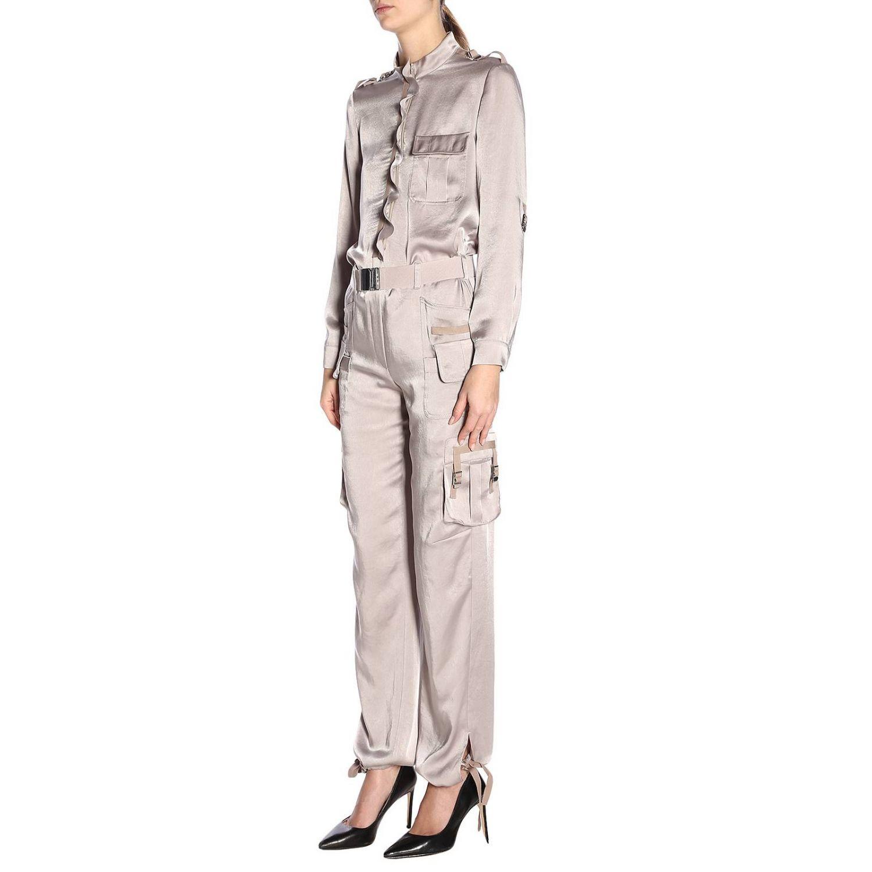 Tuta lunga in seta stile military con cintura e multi tasche by Red Valentino grigio 2