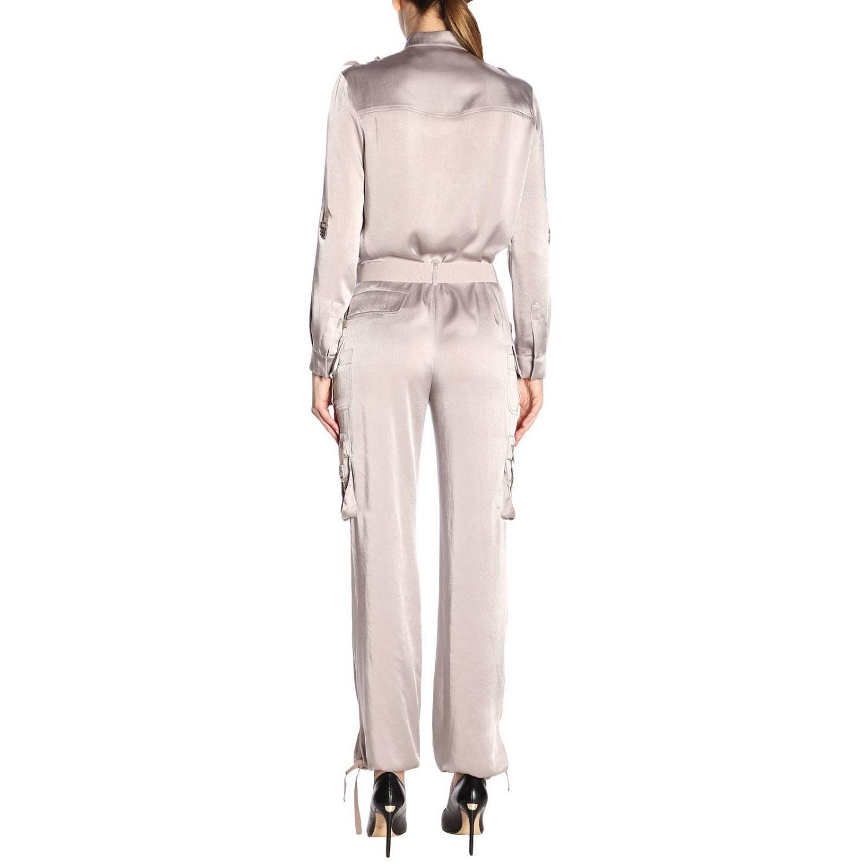 Tuta lunga in seta stile military con cintura e multi tasche by Red Valentino grigio 3