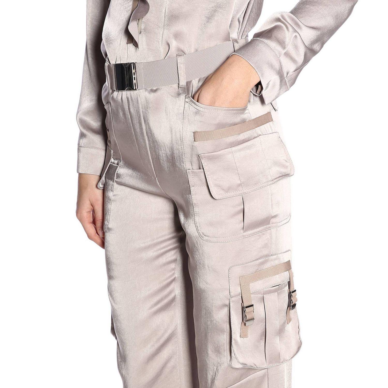 Tuta lunga in seta stile military con cintura e multi tasche by Red Valentino grigio 4
