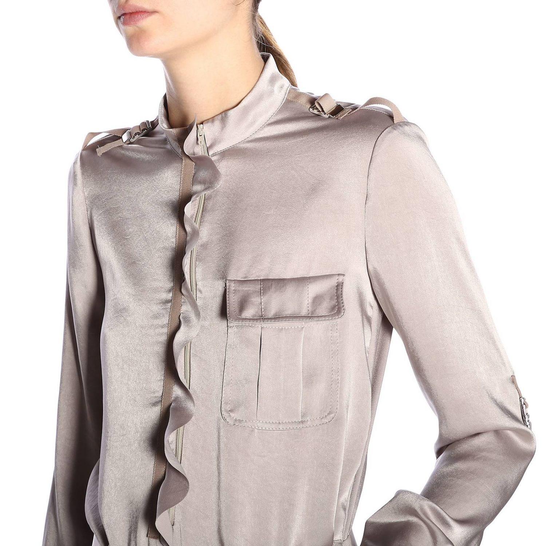 Tuta lunga in seta stile military con cintura e multi tasche by Red Valentino grigio 5
