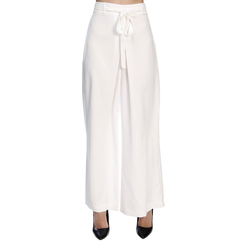 Pantalone Hanita ampio a vita alta con cintura bianco 1