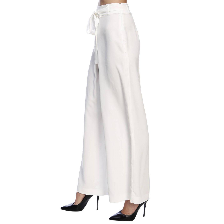 Pantalone Hanita ampio a vita alta con cintura bianco 2
