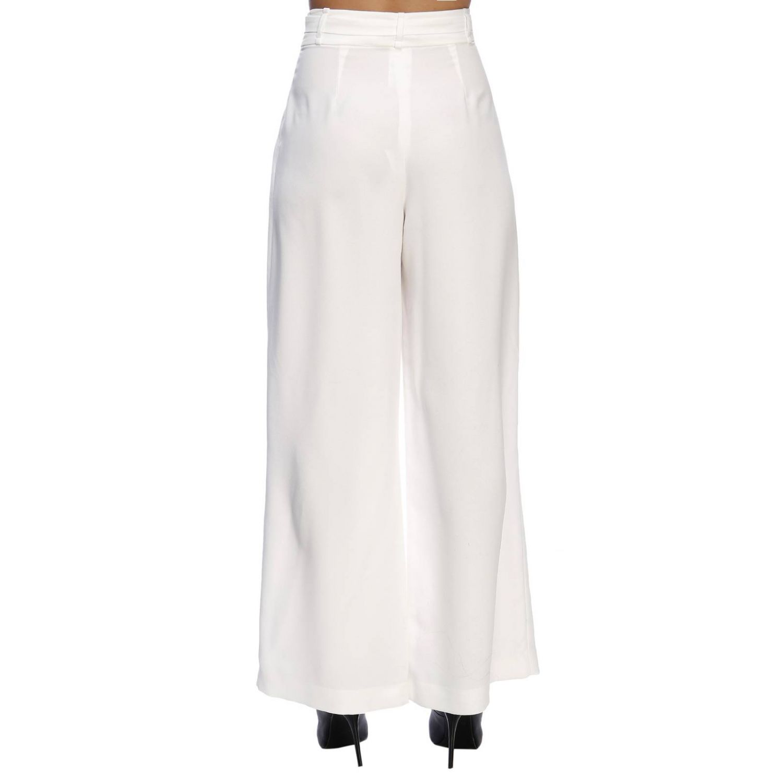 Pantalone Hanita ampio a vita alta con cintura bianco 3