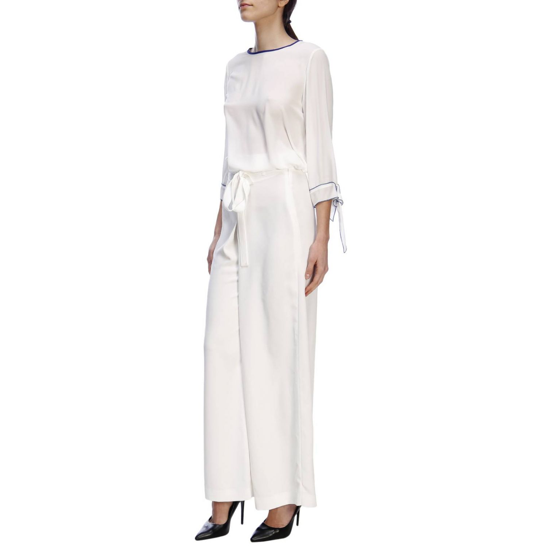 Pantalone Hanita ampio a vita alta con cintura bianco 4