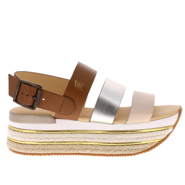 Sandalo Hogan a fasce tricolor con fibbia e maxi suola in gomma e corda platform beige 1
